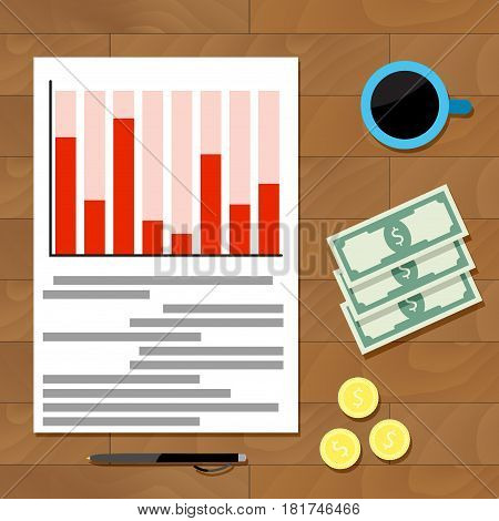 Workplace top view. Accounting and infochart statistical analytics vector illustration