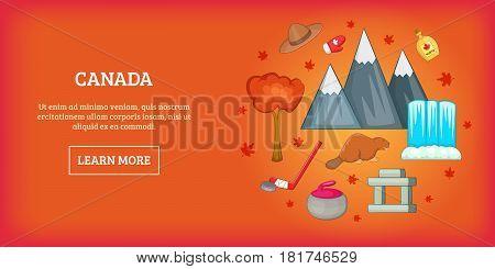 Canada travel horizontal banner concept. Cartoon illustration of Canada travel vector horizontal banner for web