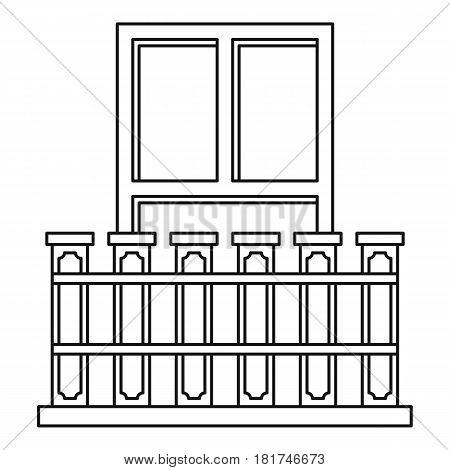 Balcony with iron railing icon. Outline illustration of balcony with iron railing vector icon for web