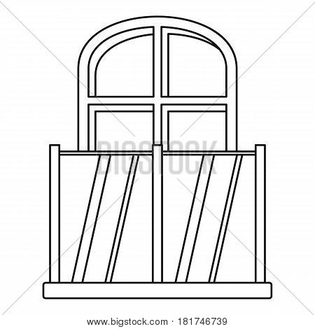 Balcony with an arched window icon. Outline illustration of balcony with an arched window vector icon for web