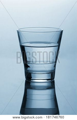 Clean and Clear Glass of water with reflection