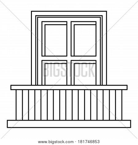 Classic balcony balustrade with window icon. Outline illustration of classic balcony balustrade with window vector icon for web