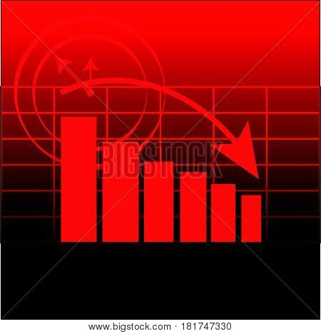 Abstract graph on red background. Vector illustartion.