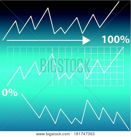 Abstract graph on blue background. Vector illustartion.