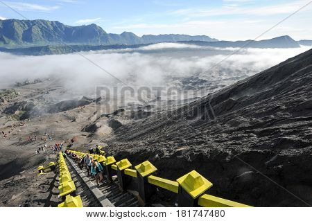 The Steps Leading Up To Mt Bromo Volcano In Java