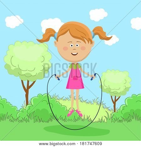 Cute little girl skipping rope in park in summer