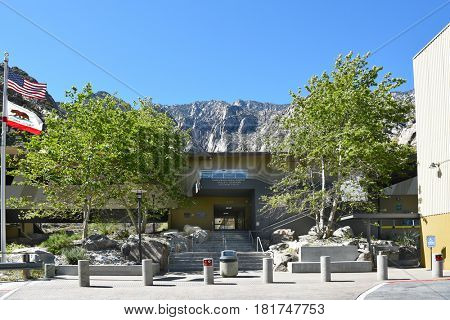 PALM SPRINGS, CA - MARCH 25, 2017: Palm Springs Aerial Tramway Valley Station upper Parking Lot. Since 1963 nearly 18 million people have traveled the 10-minute, 2.5-mile ride to the Mountain Station.