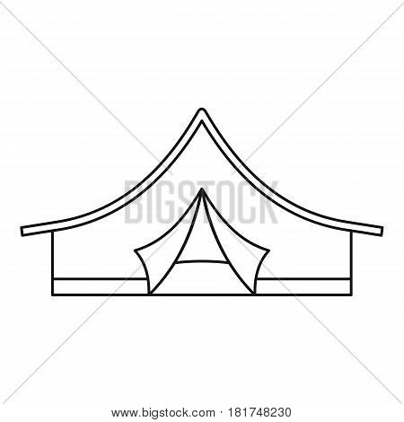 Camping tent icon. Outline illustration of camping tent vector icon for web