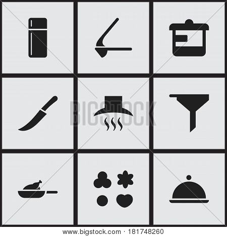 Set Of 9 Editable Cooking Icons. Includes Symbols Such As Crusher, Salver, Filtering And More. Can Be Used For Web, Mobile, UI And Infographic Design.