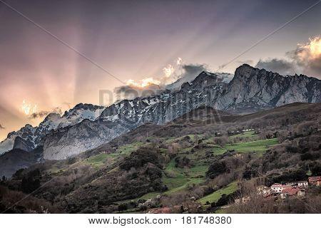 Sunset over Peaks of Europe ridge, Cantabria,Spain.