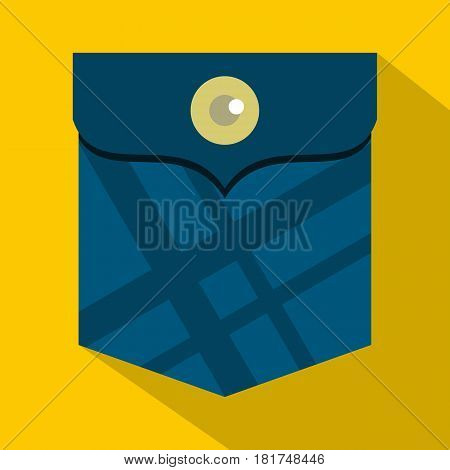 Blue pocket with a button icon. Flat illustration of blue pocket with a button vector icon for web on yellow background