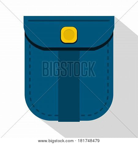 Blue shirt pocket with yellow button icon. Flat illustration of blue shirt pocket with yellow button vector icon for web on white background