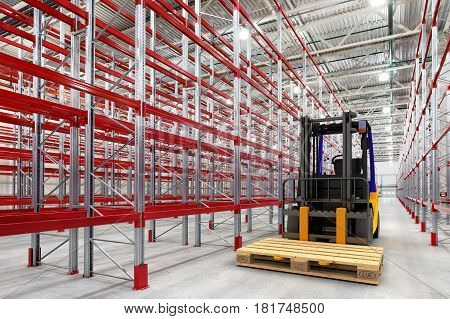 Forklift In Empty Warehouse