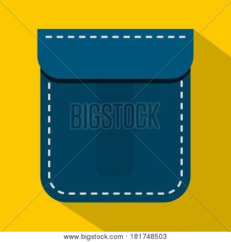 Blue pocket icon. Flat illustration of blue pocket vector icon for web on yellow background