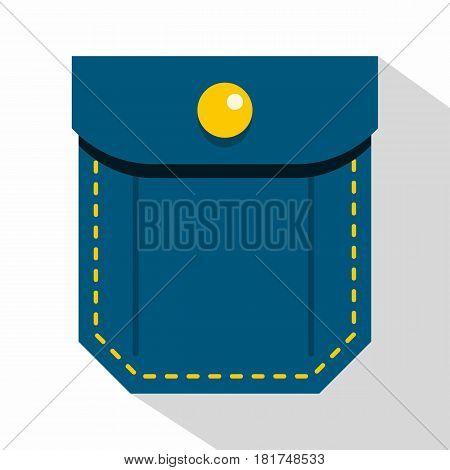 Blue pocket with yellow button icon. Flat illustration of blue pocket with yellow button vector icon for web on white background