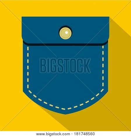 Jeans pocket icon. Flat illustration of jeans pocket vector icon for web on yellow background
