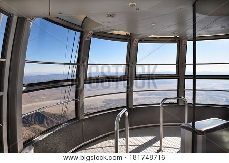 PALM SPRINGS, CA - MARCH 25, 2017: Palm Springs Aerial Tramway Tram Car Interior. Since 1963 nearly 18 million people have traveled the 10-minute, 2.5-mile ride to the Mountain Station.