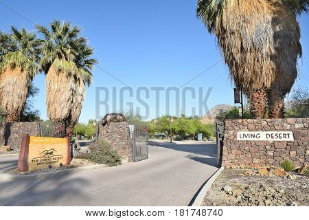 PALM SPRINGS, CA - MARCH 24, 2017: The Living Desert Zoo and Gardens. Established in 1970 as a zoo and botanic garden dedicated to the deserts of the world also providing educational programs.