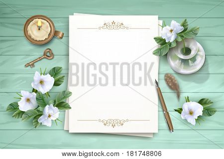 Vector white flowers, blank paper sheet, pen, brass key, candle and a glass vase on wooden background. Top View composition. Perfect for wedding, greeting or invitation design