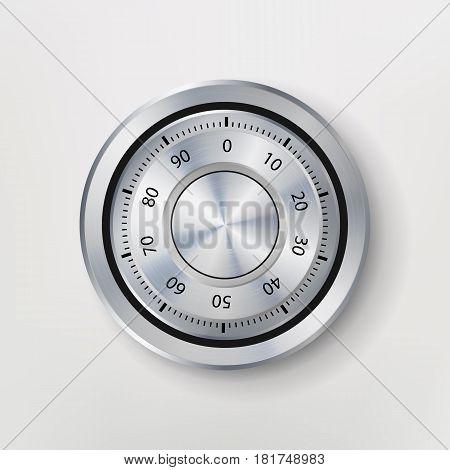 Combination Lock, Realistic Metal Vector Illustration. Safe