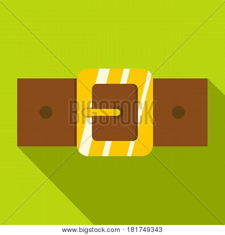 Brown leather belt with gold square buckle icon. Flat illustration of brown leather belt with gold square buckle vector icon for web on lime background
