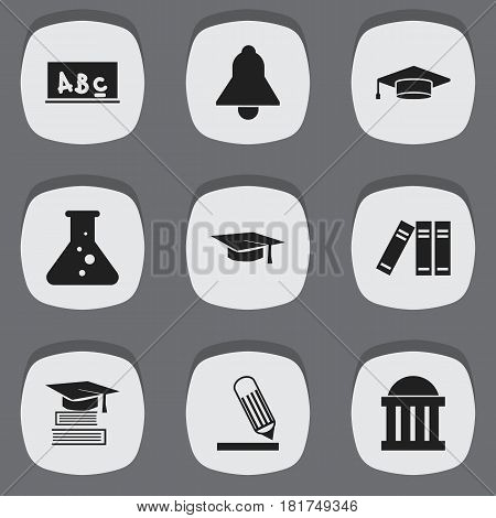Set Of 9 Editable University Icons. Includes Symbols Such As Education, School Board, Bookshelf And More. Can Be Used For Web, Mobile, UI And Infographic Design.