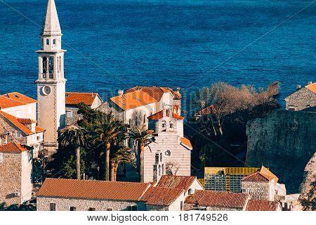 The church of Budva old town, Montenegro, Kotor Bay, the Balkans, the Adriatic Sea.