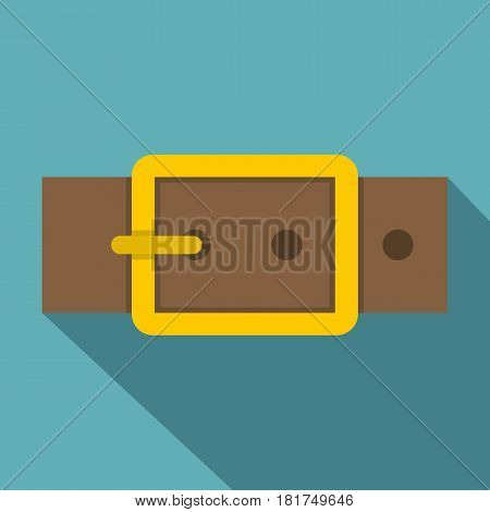 Gold square buckle icon. Flat illustration of gold square buckle vector icon for web on baby blue background