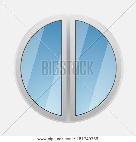 Round plastic window on a white background