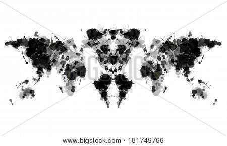 Black Rorschach test on a white background
