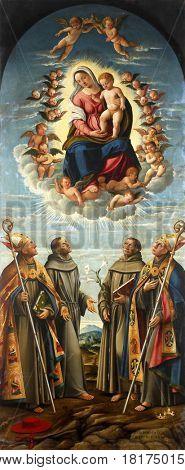 KOSLJUN, CROATIA - DECEMBER 12: Girolamo da Santa Croce: Our Lady of Angels, Altarpiece Franciscan church in Kosljun, Croatia on December 12, 2011