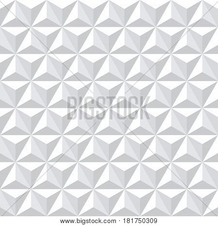 Seamless white 3d pattern. Geometric hexagons diamonds and triangles texture. Vector art.