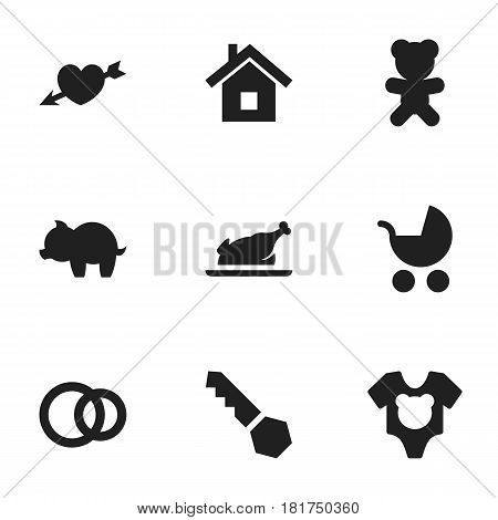 Set Of 9 Editable Family Icons. Includes Symbols Such As Fried Chicken, Love, Perambulator And More. Can Be Used For Web, Mobile, UI And Infographic Design.