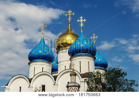 Dormition church of the Trinity Sergius Lavra in Sergiev Posad Russia. UNESCO World Heritage Site. Golden Ring of Russia