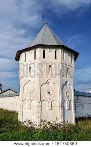White corner tower of ancient Spaso-Prilutsky (Savior-Priluki) Monastery in Vologda North Russia