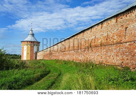Tower and wall of ancient Spaso-Prilutsky (Savior-Priluki) Monastery in Vologda North Russia