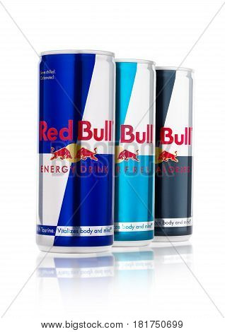London, Uk - April 12, 2017: Cans Of Red Bull Energy Drink Sugar Free And Zero Calories On White Bac