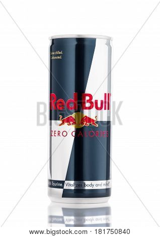 London, Uk - April 12, 2017: Can Of Red Bull Zero Calories Energy Drink On White Background. Red Bul