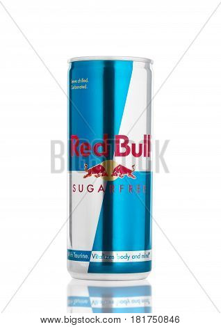 London, Uk - April 12, 2017: Can Of Red Bull Sugar Free Energy Drink On White Background. Red Bull I