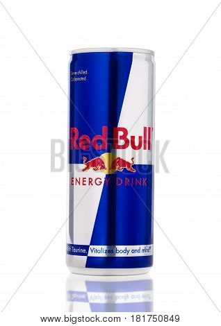 London, Uk - April 12, 2017: Can Of Red Bull Energy Drink On White Background. Red Bull Is The Most