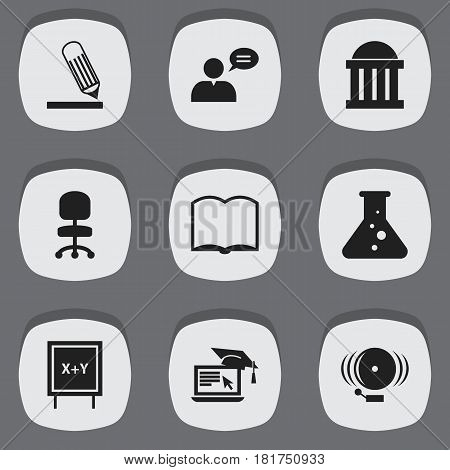 Set Of 9 Editable University Icons. Includes Symbols Such As Writing, Blackboard, Book And More. Can Be Used For Web, Mobile, UI And Infographic Design.