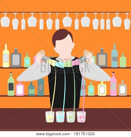 Barman show. Night life in bar. Man mix beverage. Alcoholic cocktails and bottles icon set