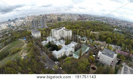 aerial view of Kiev in spring. National Institute of Cardiovascular Surgery named after Amosov
