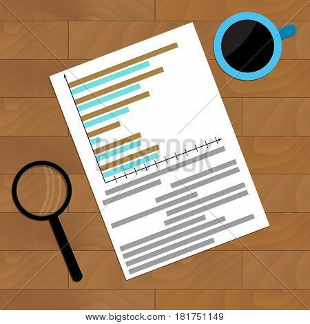 Paperwork with diagram and infochart. Vector accounting report illustration