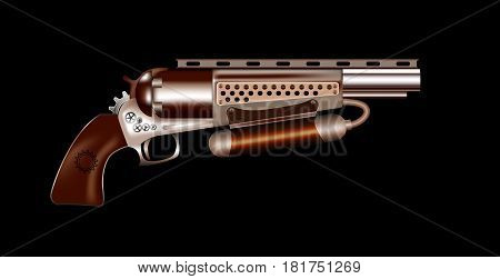 Vector steampunk revolver on a black background