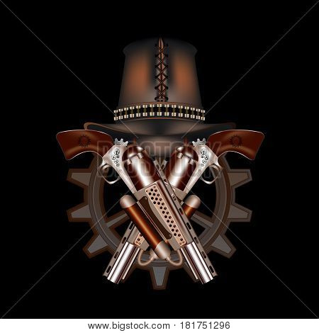 Two steampunk revolvers and hat on a black background
