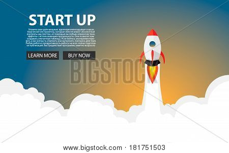 Rocket Launch. New Project Start Up Concept In Flat Design Style. Space For Text. Vector Illustratio
