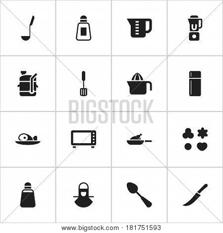 Set Of 16 Editable Cook Icons. Includes Symbols Such As Oven, Shortcake, Tablespoon And More. Can Be Used For Web, Mobile, UI And Infographic Design.