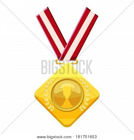 Gold medal with red ribbon icon. Cartoon illustration of gold medal with red ribbon vector icon for web