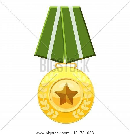 Medal with green ribbon icon. Cartoon illustration of medal with green ribbon vector icon for web